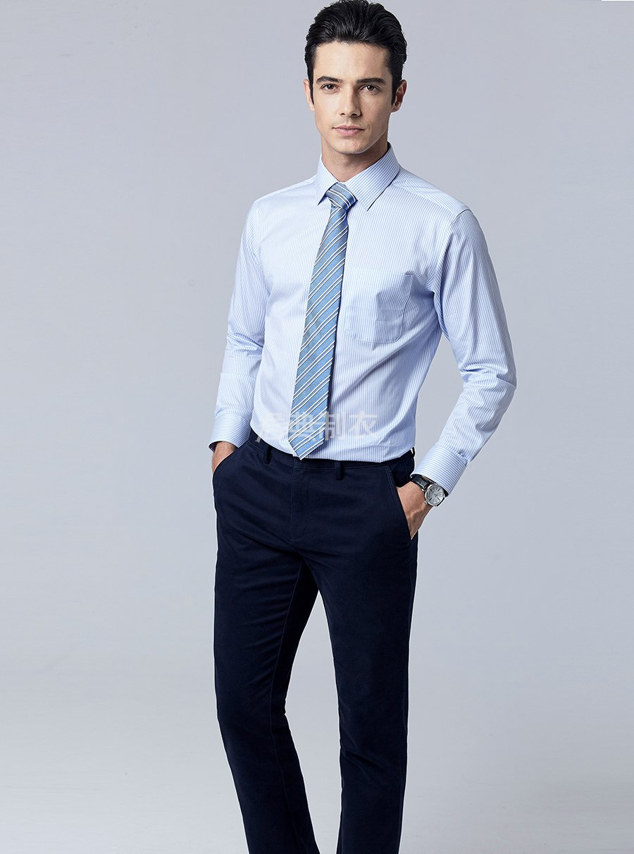 男士长袖条纹衬衫2