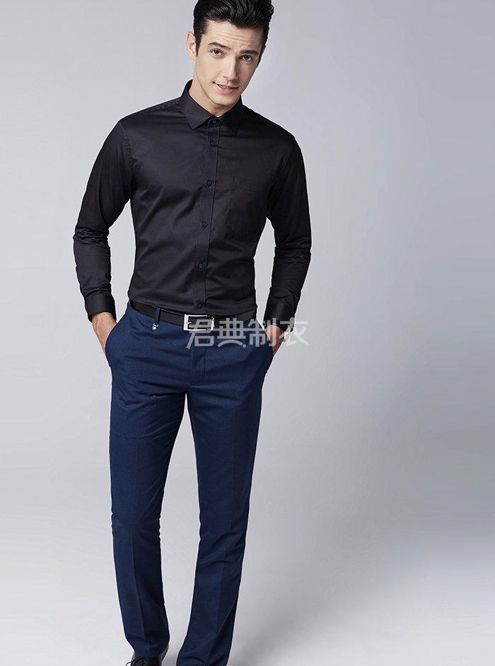 男士长袖黑色衬衫