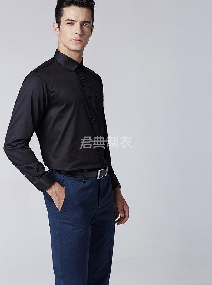 男士长袖黑色衬衫2