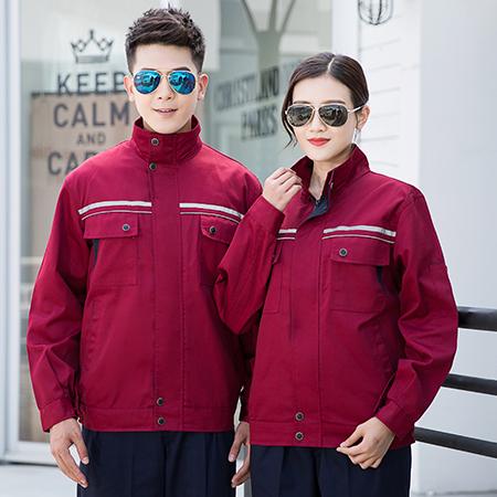 酒红色企业工作服套装 C1-012